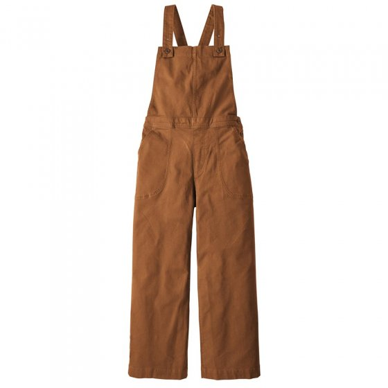 Picture of Patagonia cropped overalls in umber brown. Picture background is white.