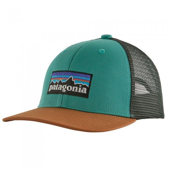Patagonia Kids Trucker Hat - P6 Logo: Light Beryl Green