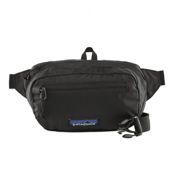Picture of black mini hip pack (front view). Picture background is white.
