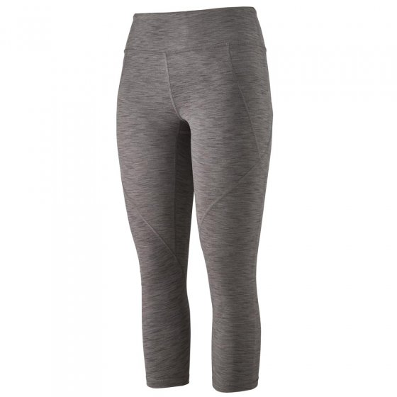 Picture of the grey cropped leggings. Picture has a white background.