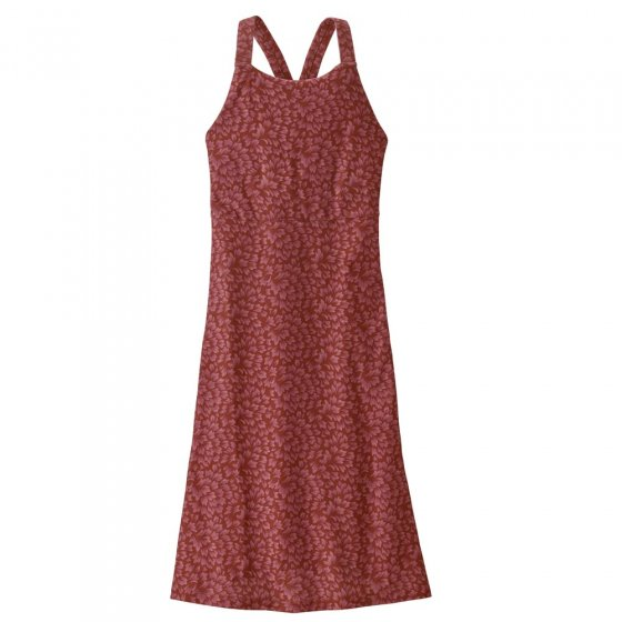 Picture of the magnolia spring dress in colour red. Picture background is white.