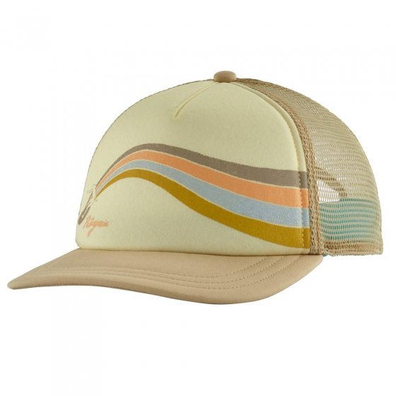 Picture of the Patagonia women's slider hat in tan (front view). Picture background is white.