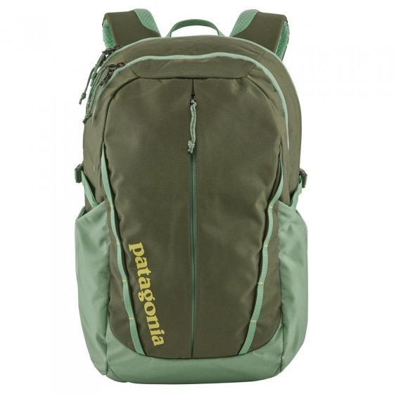 Picture of Patagonia Refugio backpack in green. Background of the picture is white.