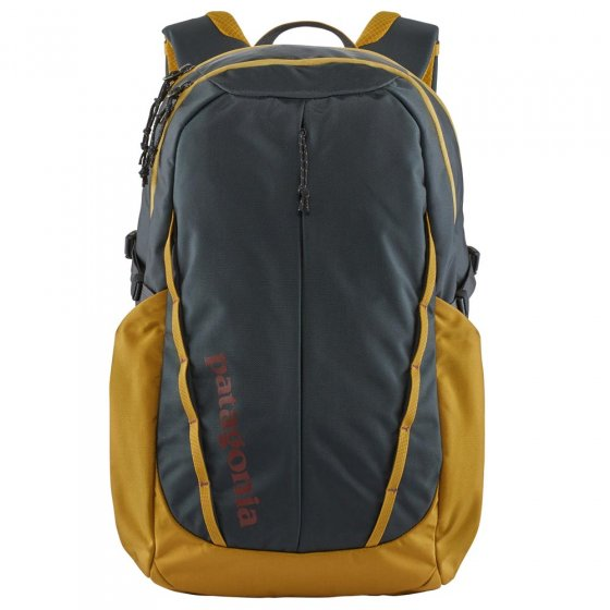 Picture of Patagonia Refugio backpack in blue and gold. Background of the picture is white.