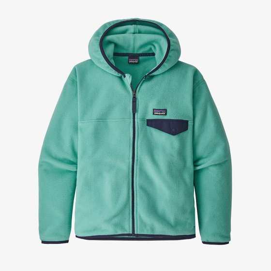 Picture of a kids green fleece jacket. Picture background is white.