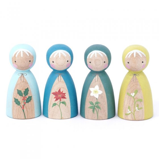 Peepul Winter Flowers Peg Doll Set