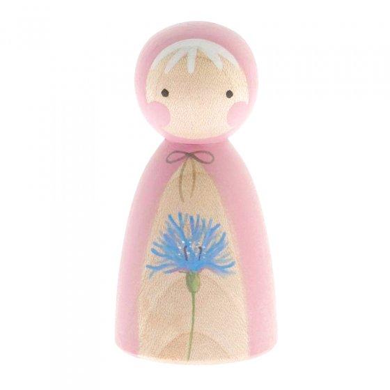 Peepul eco-friendly wooden cornflower peg doll toy on a white background