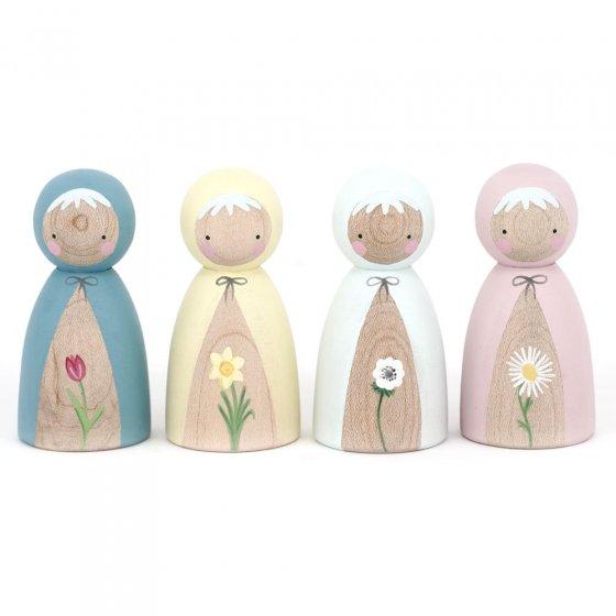 Peepul Spring Flowers Peg Doll Set