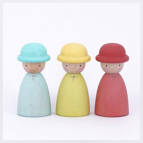 Peepul Three Hatters Peg Dolls