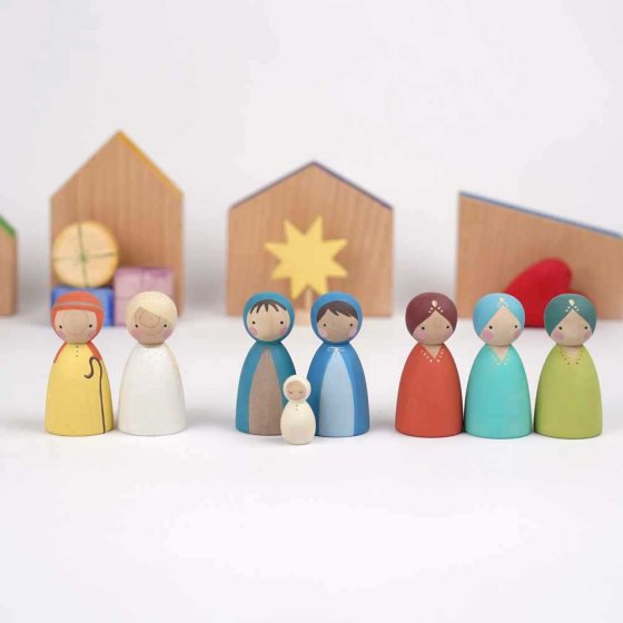 Peepul Nativity Set of 8 Peg Dolls