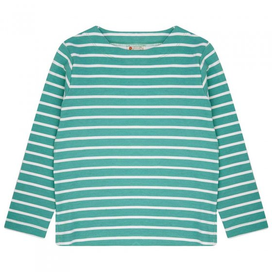Piccalilly Building block stripe green and white long sleeved top
