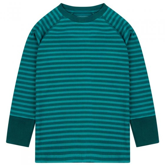 Piccalilly Lake Blue Ribbed Top