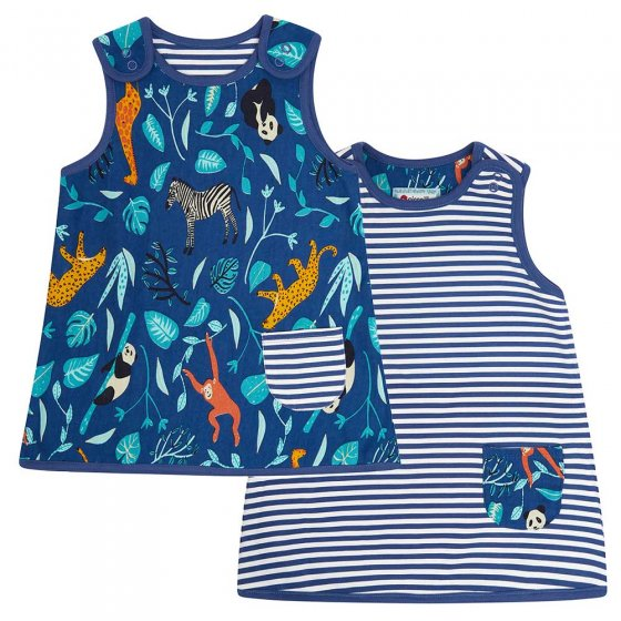Piccalilly Reversible Wildlife Stripe Dress