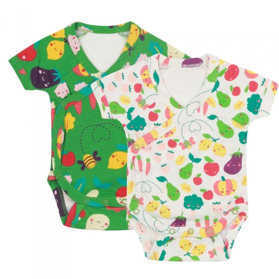 Piccalilly Grow Your Own Wrap-Over Bodysuit x2