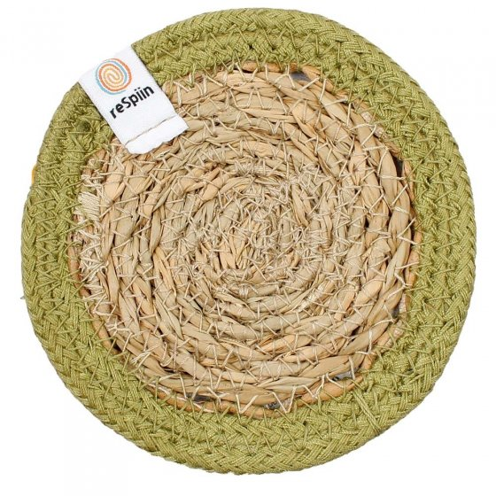 ReSpiin Jute & Seagrass Coaster - Green