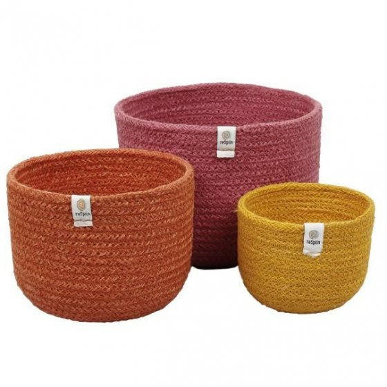 ReSpiin Jute Tall Basket Set - Fire