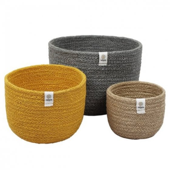 ReSpiin Jute Tall Basket Set - Beach