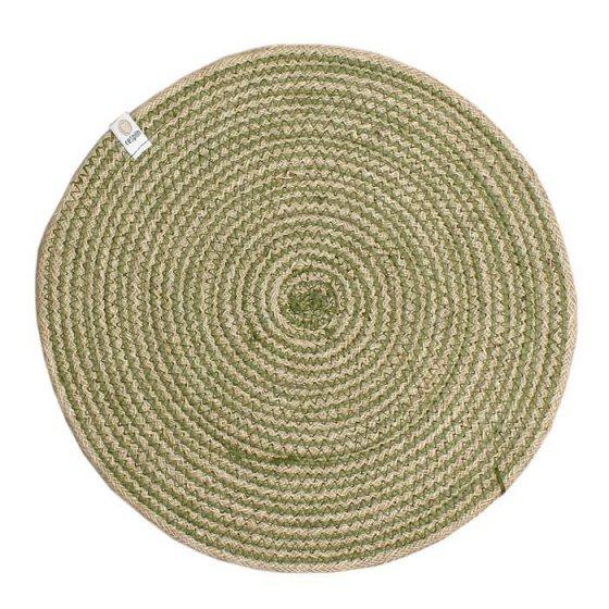 ReSpiin Spiral Jute Natural / Green Tablemat