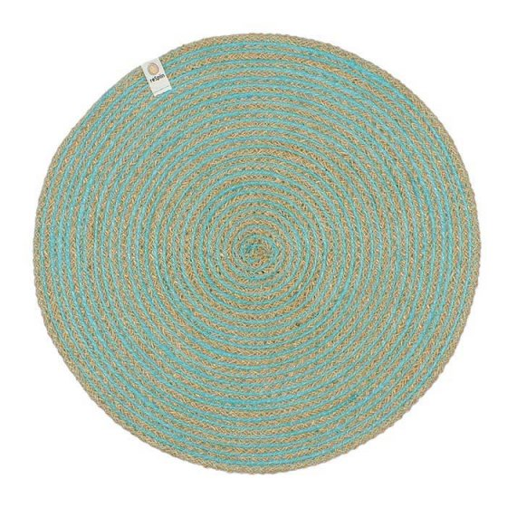 ReSpiin Spiral Jute Natural / Turquoise Tablemat