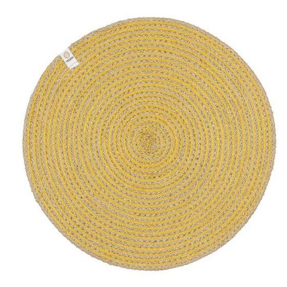 ReSpiin Spiral Jute Natural / Yellow Tablemat