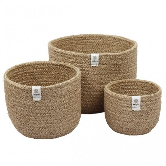 ReSpiin Jute Tall Basket Set - Natural