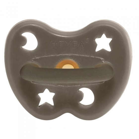 Hevea Shiitake Grey Round Pacifier - 0 - 3 months