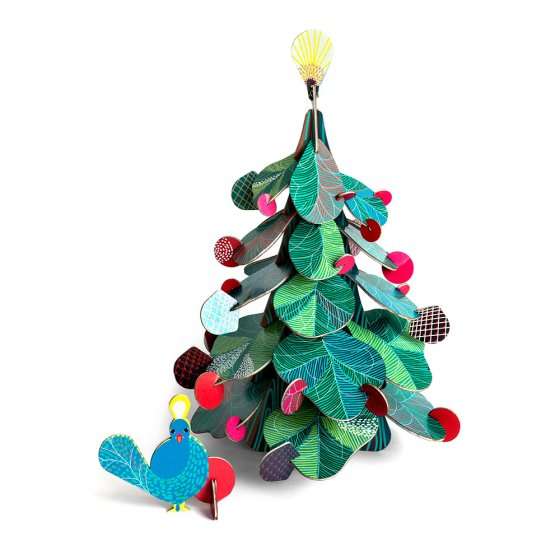 Studio Roof Small cardboard Christmas Tree & cardboard Peacock Decor in the front on a white background