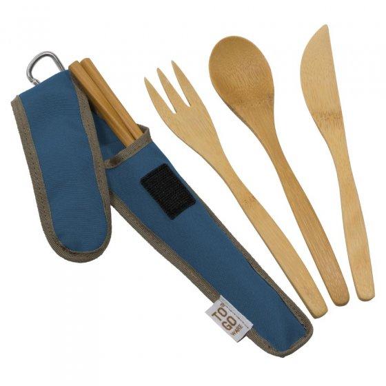 To Go Ware Indigo Bamboo Utensil Set