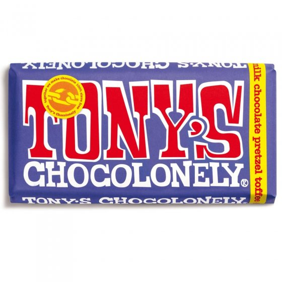 Tony's Chocolonely Fairtrade Dark Milk Pretzel & Toffee Chocolate 180g