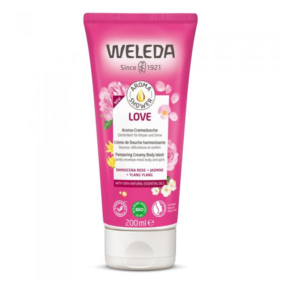 Weleda Love Pampering Creamy Body wash on a white background