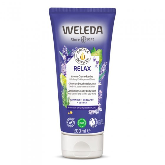 Weleda Relax Comforting Creamy Body Wash on a white background