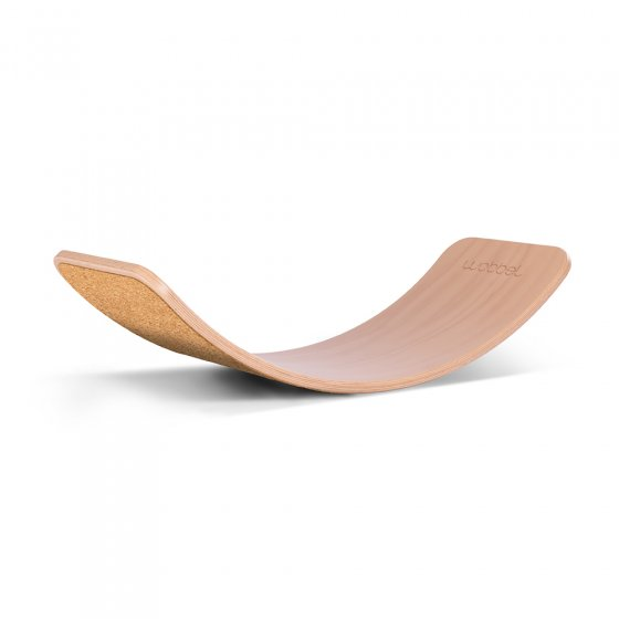 Wobbel Original Beech Wood balance board with cork on a white background
