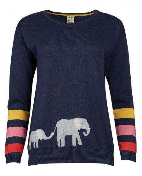 Frugi Josie adult elephant indigo jumper with elephant and striped sleeves