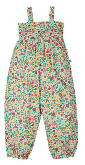 Frugi Safia Dungaree flower valley ditsy pattern blooming fabric