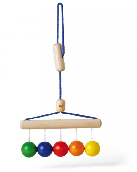 Naef's Colour Balls wooden baby rattle hanging from its string on a white background.
