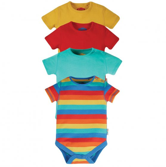 frugi over the rainbow baby body 4 pack green, red and yellow