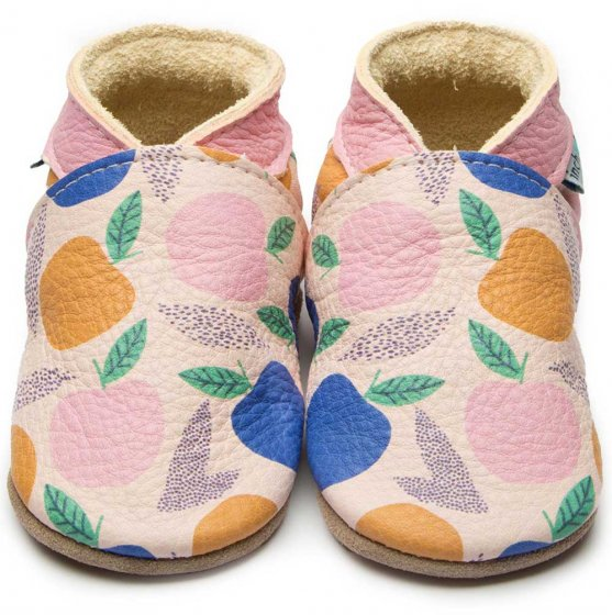 Inch Blue Leather baby shoes Pomme, with pink blue and orange apples