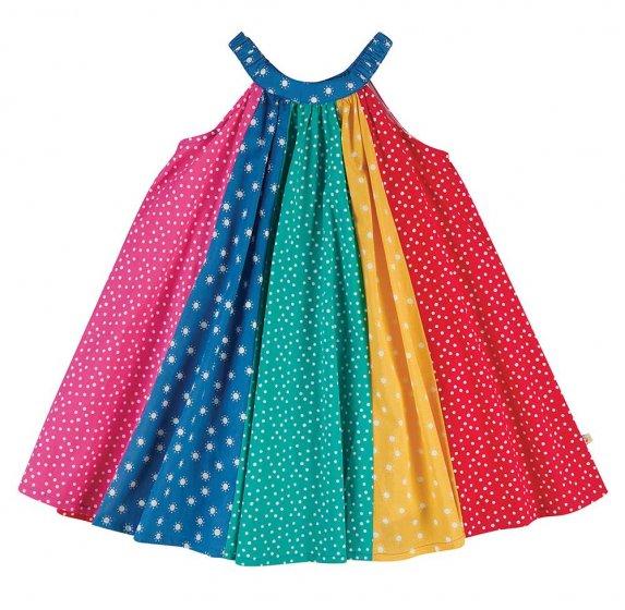 Frugi Tabitha Rainbow Trapeze Dress Organic Cotton Horizontal striped colours with patterns on each panel