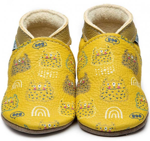 Inch Blue Monster Mash baby leather shoes yellow and painted monsters in white and blue