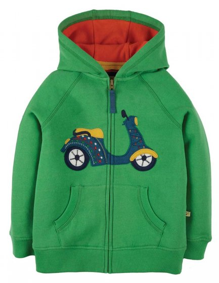 Frugi Lucas Green zip up Hoodie with applique scooter and red lining