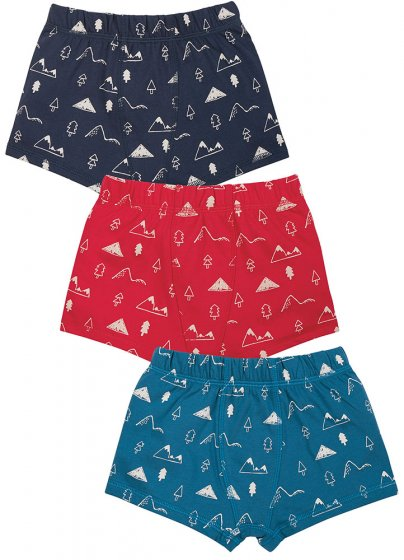 Frugi GOTS organic cotton 3 pack Sean boxers in navy, bkue and red with white mountains printed on