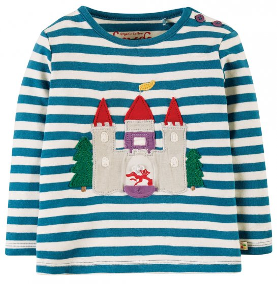 Frugi Loch Blue Stripe Castle Ira Interactive Applique Top