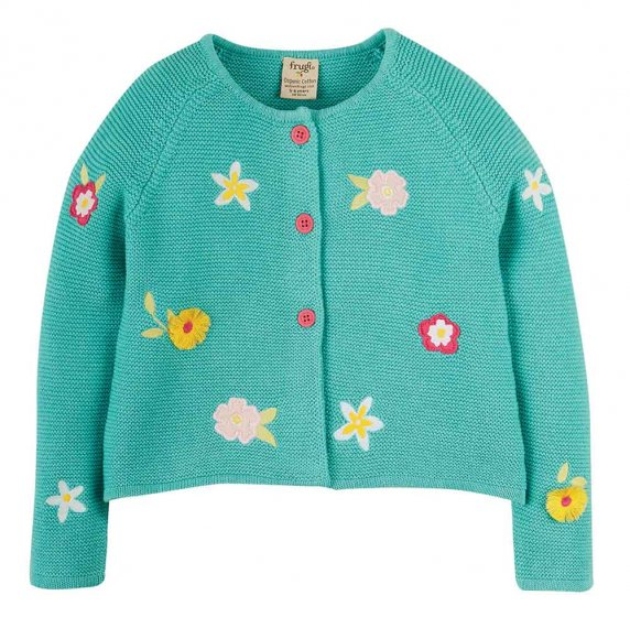 Frugi Emilia aqua flower kids cardigan embroidery flowers and pink buttons