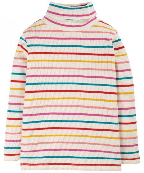 Frugi Ginger Rainbow Breton Ava Stripe Roll Neck
