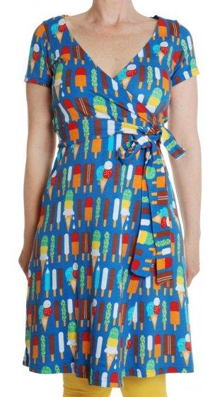 Duns Adult Ice Cream Blue SS Wrap Dress