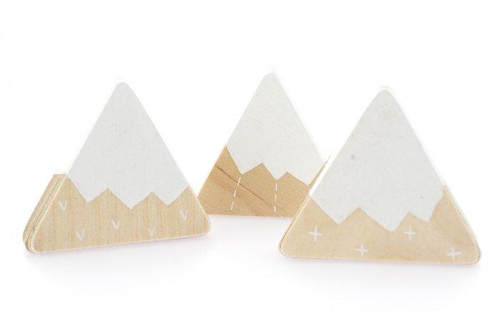 Hellion Toys eco-friendly handmade mountain trio toy set laid out on a white background