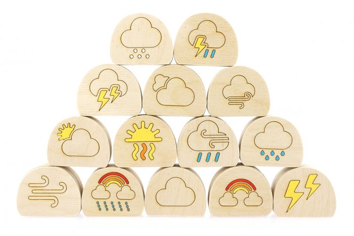 Hellion Toys handcrafted plastic-free wooden weather blob toy set stacked in a pyramid on a white background