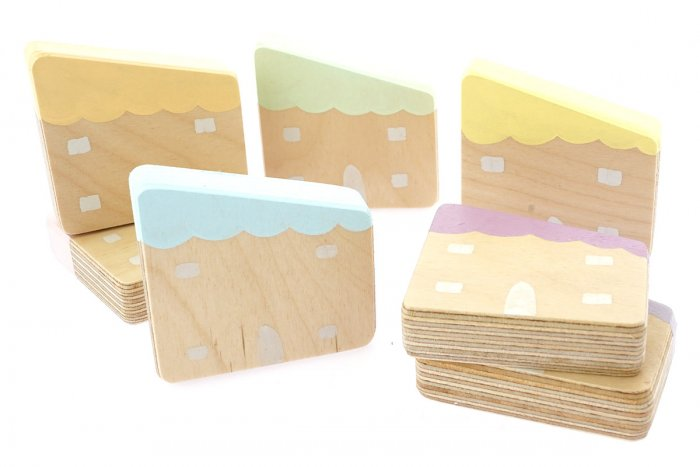 Hellion Toys handmade natural wooden pastel houses set laid out on a white background