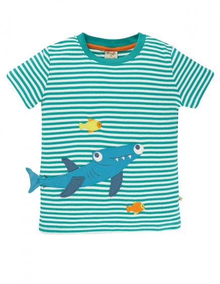 Frugi Jewel Stripe Shark Joshua Applique T-Shirt