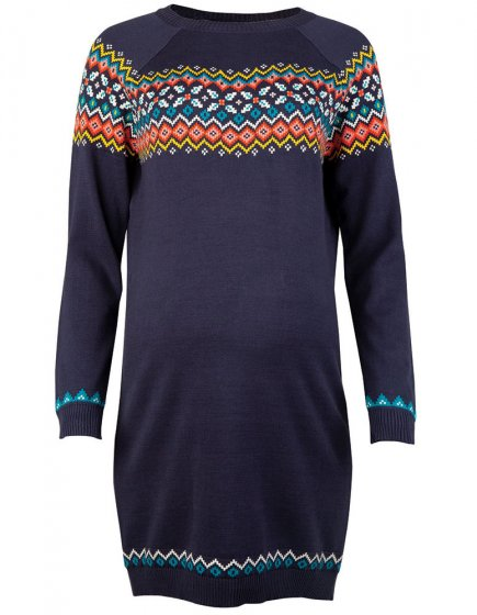 Frugi Adult Indigo Fairisle Katie Knitted Dress